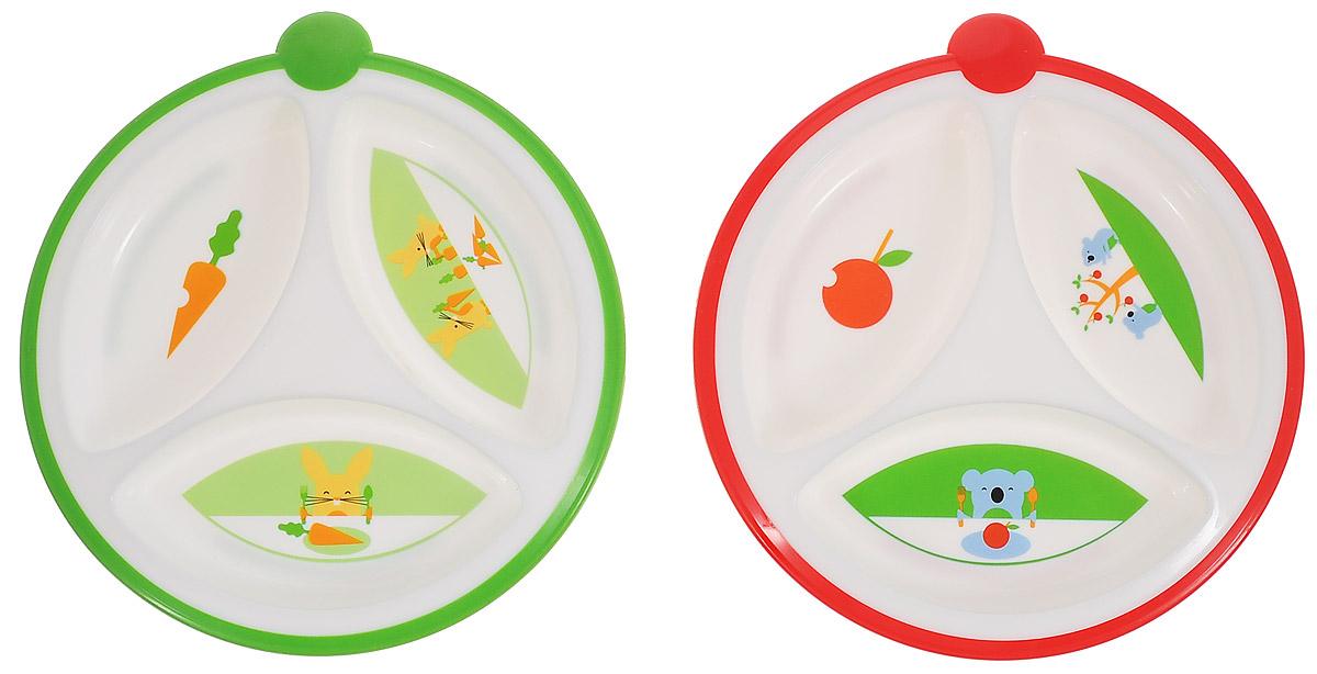 Dr.Browns Тарелка трехсекционная, цвет: зеленый, красный, 2 шт115510Тарелка трехсекционная Dr.Browns изготовлена из высококачественного безопасного материала. Имеет нескользящее основание и круглую прорезиненную ручку с одной стороны. Питание в такой тарелке не смешивается за счет идеальных размеров секций, а специальная форма краев облегчает кормление малыша. Дно тарелок украшено изображением забавных зверюшек. Набор состоит из двух ярких цветных тарелочек. Диаметр тарелки: 17 см.