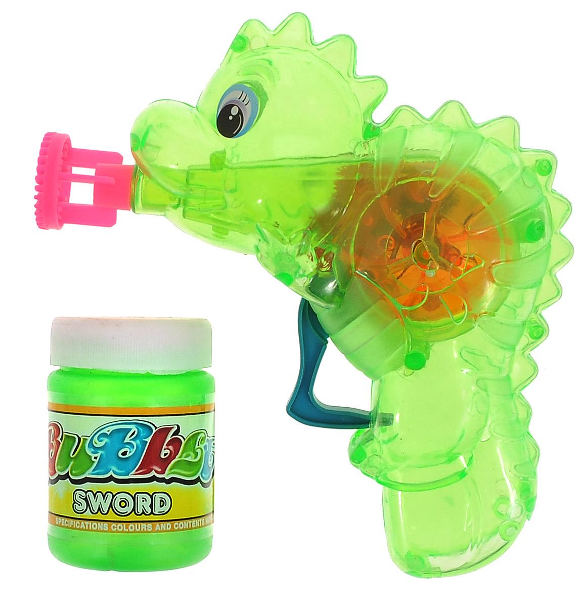 """Выдувание мыльных пузырей - это веселое развлечение для детей и взрослых. А с игрушкой Веселая затея """"Динозаврик"""" вас ждет просто гигантская очередь мыльных пузырей! Для этого налейте мыльный раствор в крышку, опустите в нее носик игрушки, поднимите в воздух и нажмите на курок. Вы увидите невероятное количество пузырей. Светящийся диск внутри! Игрушка работает с помощью инерционного механизма - батарейки не требуются. Устройте малышу настоящее мыльное шоу! В комплекте для выдувания мыльных пузырей: пластиковый пистолет, пузырек с мыльной жидкостью."""