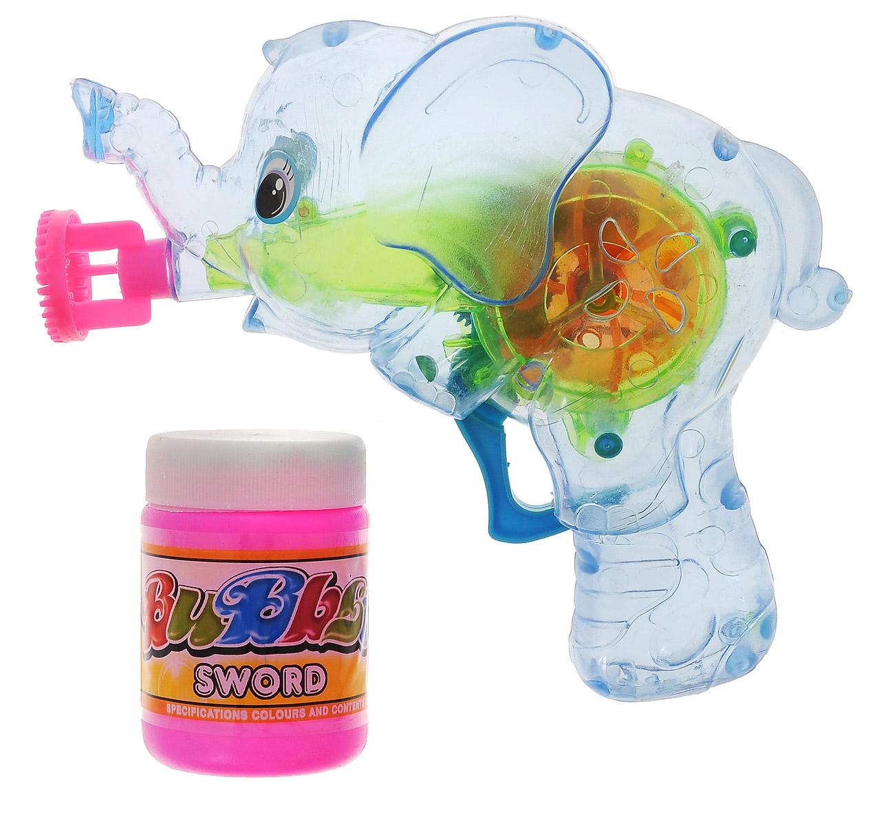 """Выдувание мыльных пузырей - это веселое развлечение для детей и взрослых. А с игрушкой Веселая затея """"Слоник"""" вас ждет просто гигантская очередь мыльных пузырей! Для этого налейте мыльный раствор в емкость, опустите в нее носик игрушки, поднимите в воздух и нажмите на курок. Вы увидите невероятное количество пузырей. Светящийся диск внутри! Игрушка работает с помощью инерционного механизма - батарейки не требуются. Устройте малышу настоящее мыльное шоу! В комплекте для выдувания мыльных пузырей: пластиковый пистолет, пузырек с мыльной жидкостью."""