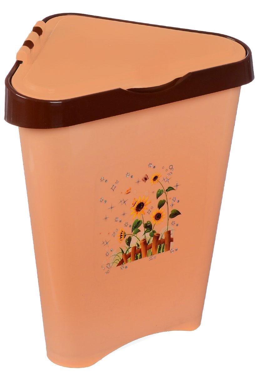 Контейнер для мусора Альтернатива, цвет: персиковый, коричневый, 7 л531-105Угловой контейнер для мусора Альтернатива изготовлен из высококачественного цветного пластика и оснащен удобной крышкой, которая открывается одним движением руки и сама закрывается. Изделие украшено рисунком подсолнухов.Вместительный и компактный контейнер подойдет для дома, дачи, офиса.