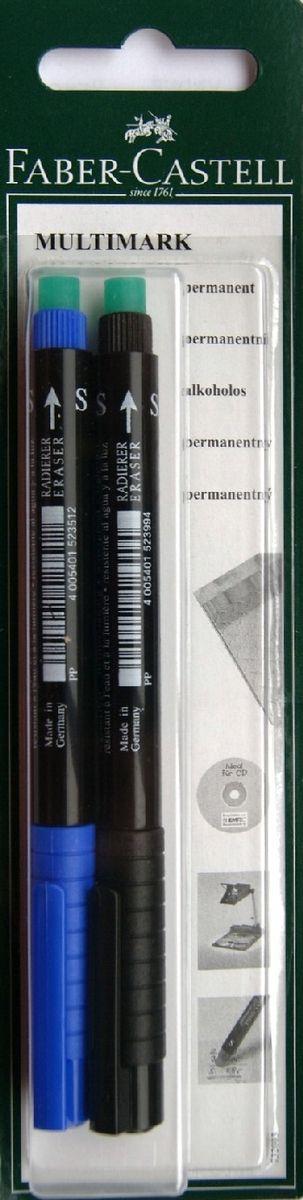 Faber-Castell Капиллярная перманентная ручка Multimark S для письма на CD 2 цвета263429Капиллярная перманентная ручка Multimark предназначена для письма на CD, DVD дисках, пленках для проекторов и других гладких поверхностях. Ручка с обратной стороны содержит специальный ластик для стирания чернил. Чернила быстросохнущие, с яркими цветами, корпус изготовлен из прочного пластика. В наборе 2 цвета: черный и синий.