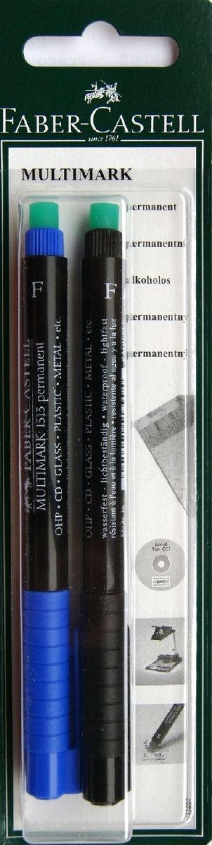 Faber-Castell Капиллярная перманентная ручка Multimark F для письма на CD 2 цвета263430Капиллярная перманентная ручка Multimark предназначена для письма на CD, DVD дисках, пленках для проекторов и других гладких поверхностях. Ручка с обратной стороны имеет специальный ластик для стирания чернил. Чернила быстросохнущие, с яркими цветами, корпус изготовлен из прочного пластика. В наборе 2 цвета: черный и синий.