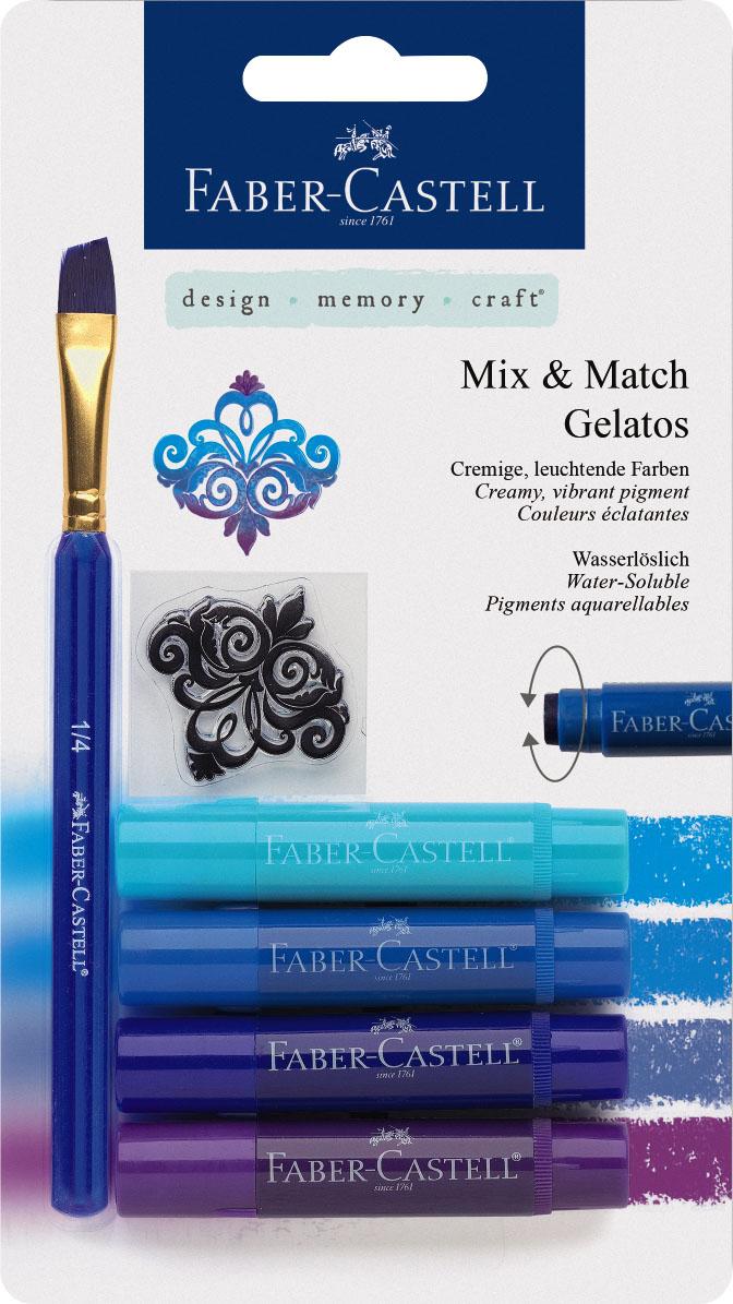 Faber-Castell Восковые мелки Gelatos цвет синий 4 шт0102016Новый уникальный продукт Gelatos от Faber-Castell не имеет аналогов на рынке. Он не содержит вредных веществ, очень гладко наносится на поверхность, имеет яркие и насыщенные цвета, которые легко смешиваются. Gelatos легко наносится на бумагу, холст или дерево и великолепно сочетается с другими арт-продуктами Faber-Castell. Этот продукт идеально подходит как для начинающих,так и для опытных художников. В набор также входят штамп и кисточка.