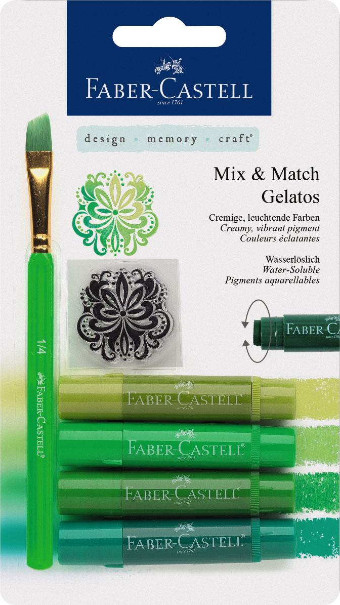 Faber-Castell Восковые мелки Gelatos цвет зеленый 4 штFS-00897Новый уникальный продукт Gelatos от Faber-Castell не имеет аналогов на рынке. Он не содержит вредных веществ, очень гладко наносится на поверхность, имеет яркие и насыщенные цвета, которые легко смешиваются. Gelatos легко наносится на бумагу, холст или дерево и великолепно сочетается с другими арт-продуктами Faber-Castell. Этот продукт идеально подходит как для начинающих,так и для опытных художников. В набор также входят штамп и кисточка.