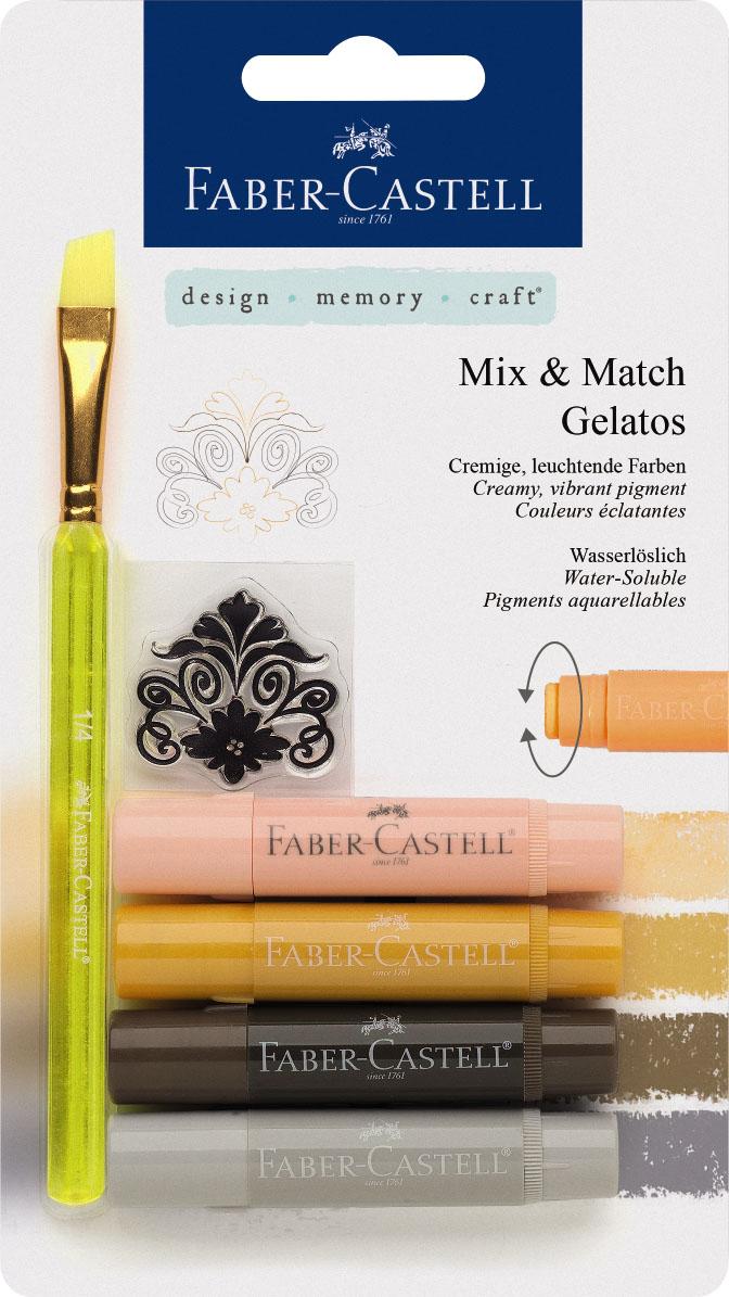 Faber-Castell Восковые мелки Gelatos базовые цвета 4 шт261102Новый уникальный продукт Gelatos от Faber-Castell не имеет аналогов на рынке. Он не содержит вредных веществ, очень гладко наносится на поверхность, имеет яркие и насыщенные цвета, которые легко смешиваются. Gelatos легко наносится на бумагу, холст или дерево и великолепно сочетается с другими арт-продуктами Faber-Castell. Этот продукт идеально подходит как для начинающих,так и для опытных художников. В набор также входят штамп и кисточка.