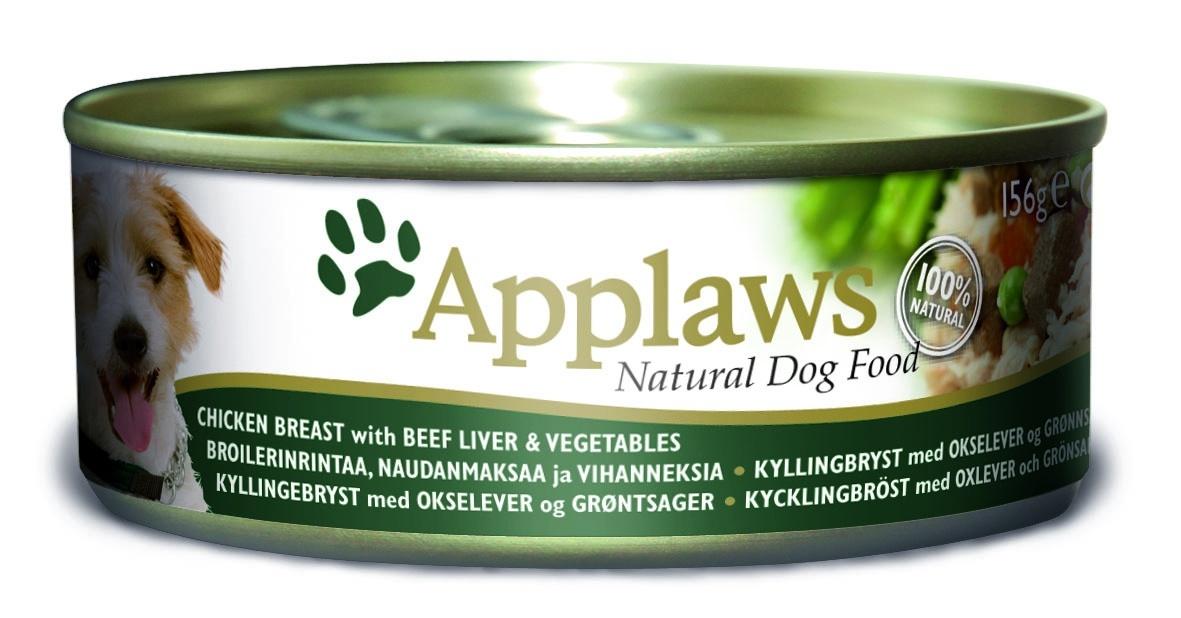 Консервы Applaws, для собак, с курицей, говядиной, печенью и овощами, 156 г
