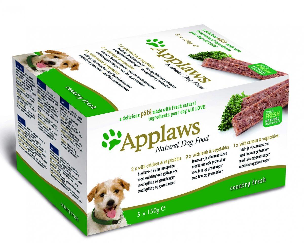 Набор консервов для собак Applaws Курица. Ягненок. Лосось, паштет, 5 шт х 150 г10297Нежный паштет Applaws – это полнорационная порция мясного/рыбного мусса с добавлением всех необходимых для собаки витаминов и минералов. Упаковка в виде алюминиевого контейнера прекрасно сохраняет качество ингредиентов и его непревзойденный вкус. Набор состоит из: 2 х Курица с овощами. Applaws Паштет с курицей и овощами производится из свежих натуральных ингредиентов. Корм для взрослых собак минимум 58% мяса и рыбы. Состав: Курица 31%, свинина 19%, морковь 8%, горох 8%, Индейка 4%, рыба 4%. Витамины и минералы: Витамин Е 30 МЕ / кг, сульфат меди 1 мг / кг, цинка сульфат 20 мг / кг. Пищевая ценность: Белки 10%, жирность 5,5%, Сырая клетчатка 0,2%, сырая зола 2,3%, Влажность 82%. 150 г2 х Ягненок с овощамиApplaws Паштет с бараниной и овощами производится из свежих натуральных ингредиентов.Корм для взрослых собак минимум 58% мяса и рыбы. Состав: Курица 27%, свинина 19%, морковь 8%, горох 8%, ягненок 4%, индейка 4%, рыба 4%. Витамины и минералы: Витамин Е 30 МЕ / кг, сульфат меди 1 мг / кг, цинка сульфат 20 мг / кг. Пищевая ценность: Белки 10%, жирность 5,5%, Сырая клетчатка 0,2%, сырая зола 2,3%, Влажность 82%. 150 г 1 х Лосось с овощамиApplaws Паштет с лососем и овощами производится из свежих натуральных ингредиентов.Корм для взрослых собак минимум 58% мяса и рыбы. Состав: Курица 27%, свинина 19%, морковь 8%, горох 8%, лосось 4%, форель 4%. Витамины и минералы: Витамин Е 30 МЕ / кг, сульфат меди 1 мг / кг, цинка сульфат 20 мг / кг. Пищевая ценность: Белки 10%, жирность 5,5%, Сырая клетчатка 0,2%, сырая зола 2,3%, Влажность 82%. 150 г Условия хранения: в прохладномтемном месте