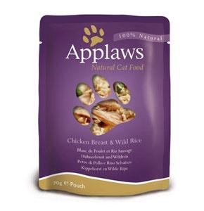Консервы для кошек Applaws, с курицей, 70 г9455Нежное филе куриной грудки в собственном бульоне с диким рисом. Ламинированная упаковка из пищевой фольги прекрасно сохраняет все вкусовые качества рецепта.Продукт не содержит ГМО, синтетических добавок, усилителей вкуса и красителей. Состав: филе куриной грудки 75%, куриный бульон 24%, дикий рис 1%.Гарантированный анализ: белок 14%, жиры 0,3%, зола 2%, клетчатка 1%, влага 82%. Товар сертифицирован.