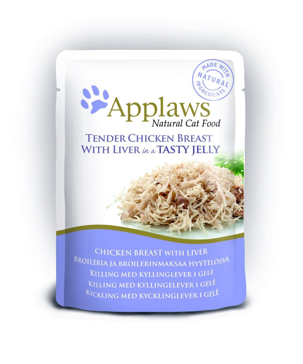 Паучи для Кошек Кусочки Курицы с Печенью в желе (cat pouch chicken with liver in jelly), 70 г0120710Нежные кусочки в аппетитном желе для кошек изготовленные из свежего мяса или рыбы. Желе приготовлено из бульона при помощи натуральных загустителей.Известно, что желе помогает пищеварению кошек – легко переваривается, дает дополнительную влагу, также помогает при выводе шерсти. Состав: Филе куриной грудки 55%, печень 7%, растительный желлирующий компонент (пектин) 1%.Гарантированный анализ: Белок 12,5%, Клетчатка 1%, Жиры 1%, Зола 1%, Влага 84%. Условия хранения: в прохладномтемном месте