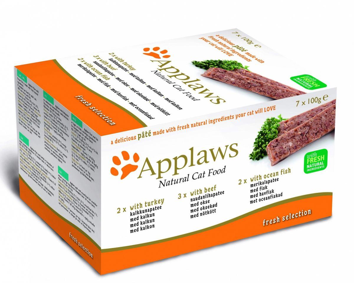 Набор консервов для кошек Applaws, паштет с индейкой, с говядиной, с океанической рыбой, 7 х 100 г24380Нежный паштет Applaws - это полнорационная порция мясного/рыбного мусса с добавлением всех необходимых для кошки витаминов и минералов. Упаковка в виде алюминиевого контейнера прекрасно сохраняет качество ингредиентов и его непревзойденный вкус. В набор входит: 2 х 100 г паштета с индейкой:Состав: курица 35%, свинина 23%, индейка 8%, лосось 4%, форель 4%. Пищевые добавки: витамин Е 30 МЕ/кг, сульфат меди 1мг/кг, сульфат цинка 20 мг/кг. Гарантированный анализ: белки 10%, жиры 5,5%, клетчатка 0,2%, зола 2,3%, влага 82%. 3 х 100 г паштета для кошек с говядиной:Состав: курица 35%, свинина 23%, говядина 4%, индейка 4%, лосось 4%, форель 4%. Пищевые добавки: витамин Е 30 МЕ/кг, сульфат меди 1мг/кг, сульфат цинка 20 мг/кг. Гарантированный анализ: белки 10%, жиры 5,5%, клетчатка 0,2%, зола 2,3%, влага 82%. 2 х 100 гпаштета для кошек с океанической рыбой: Состав: курица 35%, свинина 23%, океаническая рыба 4%, индейка 4%, лосось 4%, форель 4%. Пищевые добавки: витамин Е 30 МЕ/кг, сульфат меди 1мг/кг, сульфат цинка 20 мг/кг. Гарантированный анализ: белки 10%, жиры 5,5%, клетчатка 0,2%, зола 2,3%, влага 82%. Товар сертифицирован.
