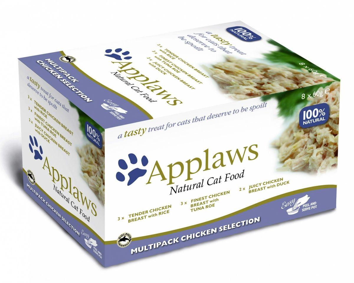 Набор консервов для кошек Applaws Куриное ассорти, 8 шт, 480 г101246Для приготовления любого блюда Appalws использует мясо животных свободного выгула, выращенных на фермах Англии. Уникальный дизайн упаковки прекрасно заменяет миску для вашего любимца.Вся линейка консервов приготовлена только из свежих и качественные ингредиентов. Консервы не содержат красителей, усилителей вкуса и запаха, продуктов ГМО.В набор входят:Консервы для кошек Отборная куриная грудка с икрой тунца - 3 шт.Состав: филе куриной грудки 54%, куриный бульон 35%, икра тунца 6%, рис 5%.Гарантированный анализ: Белки 11%, Клетчатка 0,5%, Жиры 1%, Зола 1%, Влага 84%.Фасовка: 60 г.Консервы для кошек Нежнейшая куриная грудка с рисом - 3 шт.Состав: филе куриной грудки 60%, куриный бульон 35%, рис 5%. Гарантированный анализ:Белки 11%, Клетчатка 0,5%, Жиры 0,5%, Зола 0,5%, Влага 85%.Фасовка: 60 г.Консервы для кошек Сочная куриная грудка с уткой - 2 шт.Состав: филе куриной грудки 55%, куриный бульон 35%, филе утки 5%, рис 5%.Гарантированный анализ: Белки 11%, Клетчатка 0,5%, Жиры 1%, Зола 0,5%, Влага 85%.Фасовка: 60 г.Фасовка набора: 480 г.Товар сертифицирован.