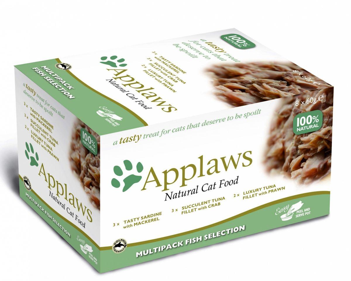 """Набор консервов для кошек Applaws Рыбное ассорти, 8 шт х 60 г0120710Каждая баночка содержит порцию свежего мяса/рыбы(60%), приготовленных в собственном бульоне (35%). Для приготовления любого """"блюда"""" Appalws использует мясо животных свободного выгула, выращенных на фермах Англии. Уникальный дизайн упаковки прекрасно заменяет миску для вашего любимца. Вся линейка консервов приготовлена только из свежих и качественные ингредиентов. Консервы НЕ содержат красителей, усилителей вкуса и запаха, продуктов ГМО. В набор входит: -3 х Консервы для Кошек Нежное филе Тунца с Крабовым мясом; Состав: филе тунца 56%, рыбный бульон 35%, рис 5%, нежное крабовое мясо 4%. Гарантированный анализ: Белки 11%, Клетчатка 0,5%, Жиры 1%, Зола 1%, Влага 84%. Фасовка: 60г . -3 х Консервы для Кошек Лакомые Сардинки со Скумбрией ; Состав: сардинки 48%, рыбный бульон 35%, филе скумбрии 12%, рис 5%.Гарантированный анализ: Белки 11%, Клетчатка 0,5%, Жиры 1%, Зола 1%, Влага 84%. Фасовка: 60г. -2 х Консервы для Кошек Нежное филе Тунца с Креветками; Состав: филе тунца 56%, рыбный бульон 35%, рис 5%, креветки 4%. Гарантированный анализ: Белки 11%, Клетчатка 0,5%, Жиры 1%, Зола 1%, Влага 84%. Фасовка: 60г. Фасовка набора:480 г Условия хранения: в прохладномтемном месте"""