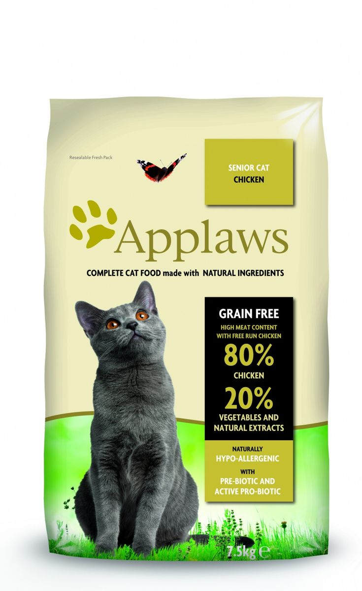 Беззерновой для Пожилых кошек Курица/Овощи: 80/20% (Dry Cat Senior), 7,5 кг18113Беззерновая линейка Холистик кормов для кошек Applawsизготовлена по особым рецептам, разработанными диетологами института Великобритании. Правильная диета очень важна для питомцев, ведь она меняется в зависимости от жизненного цикла. Также полнорационные корма должны включать в себя необходимое количество витаминов и минералов. В рецептах сухих кормов Applaws учтен не только перечень наиболее необходимых минералов и витаминов, но и их строгий баланс. Так как сухой корм изготавливается только из натуральных качественных ингредиентов, крокеты привлекут внимание любого, даже очень привередливого питомца. Состав: Дегидрированное мясо цыпленка (мин. 75%), мелкопорубленное филе цыпленка (мин. 12%), молодой картофель (мин. 6%), свекла, пивные дрожжи, подлива с мяса птицы приготовленной в собственном соку (мин. 1%), Клетчатка, лососевый жир (источник Омега 3), кокосовое масло, витамины и минералы, яичный порошок, хлорид натрия, карбонат кальция, сушеные водоросли, клюква, DL - метионин, хлористый калий, экстракт Юкка Шидегера, экстракт из цитрусовых, розмарин. Пищевые добавки: Витамин А 27,850 МЕ/кг, Витамин D3 1,200 МЕ/кг, Витамин Е 615 МЕ/кг. Микроэлементы:Селен (селенит натрия) 0,13 мг/кг, Йод (безводный иодат кальция) 1,5 мг/кг, Железо (сульфат железа моногидрат) 80 мг, медь (сульфат меди пентагидрад) 48мг/кг, марганец (сульфат марганца моногидрат) 38 мг/кг, Цинк (сульфат цинка моногидрат) 68 мг/кг. Прочие добавки: натуральный консервант – Токоферол. Гарантированный анализ: Белки 37%, Жиры 17%, Клетчатка 3,4%, Зола 10%, Омега 6: 3,1%, Омега 3: 0,7%, Кальций 2,2%, Фосфор 1,5%, Таурин 2000 мг/кг < 12,5 Углеводов. Условия хранения: в прохладномтемном месте