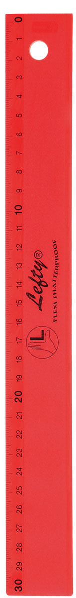 Kum Линейка для левшей, цвет: красный, 30 см72523WDЛинейка для левшей Kum, длиной 30 см, выполнена из прозрачного пластика красного цвета. Линейка предназначена специально для левшей. Шкала на линейке расположена справа налево. Линейка Kum - это незаменимый атрибут, необходимый школьнику или студенту, упрощающий измерение и обеспечивающий ровность проводимых линий.