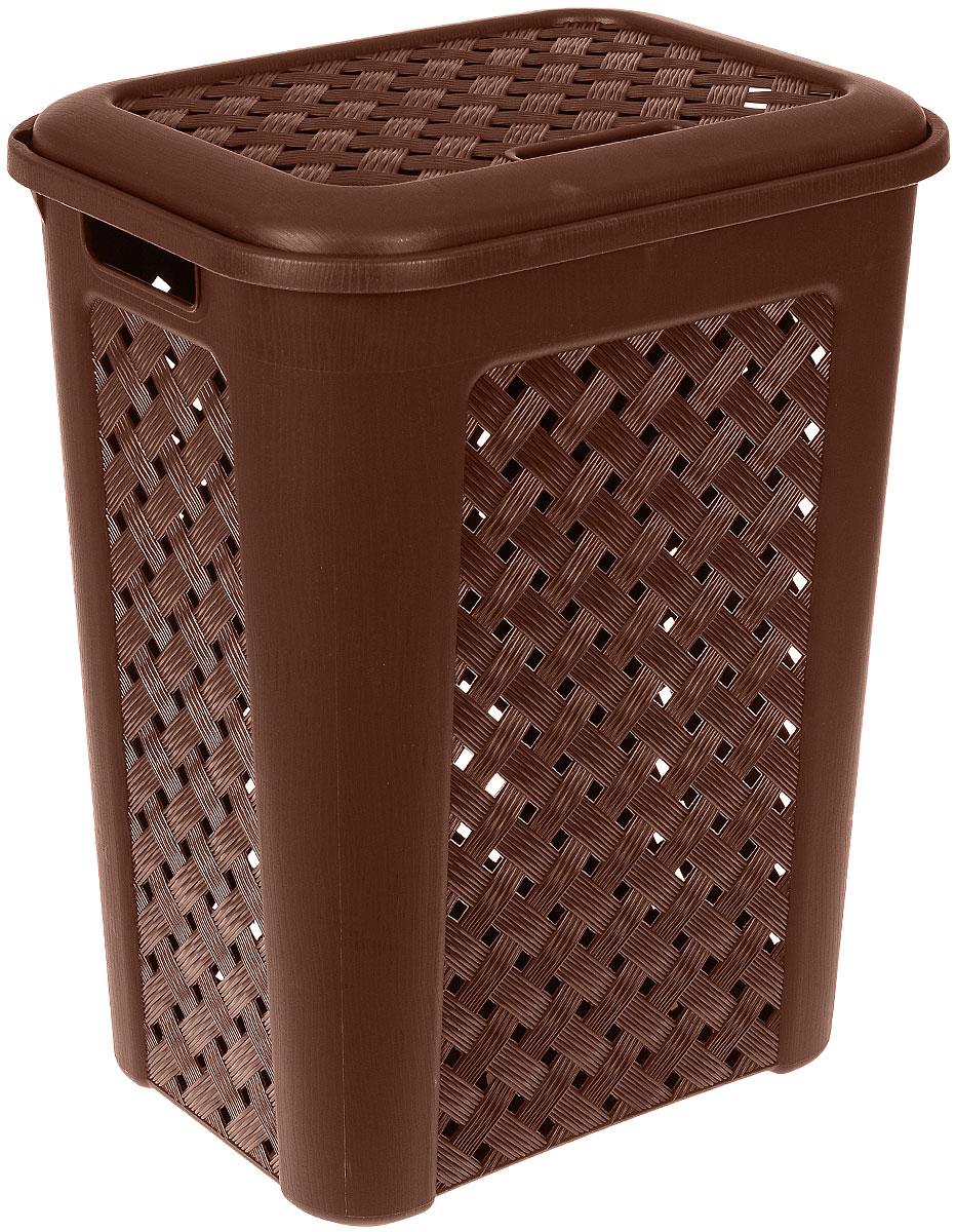 Корзина для белья Виола, цвет: коричневый, 50 л41619Вместительная корзина Виола изготовлена из прочного цветного пластика. Она отлично подойдет для хранения белья перед стиркой.Специальные отверстия на стенках создают идеальные условия для проветривания. Изделие оснащено крышкой и двумя эргономичными ручками для переноски. Такая корзина для белья прекрасно впишется в интерьер ванной комнаты.
