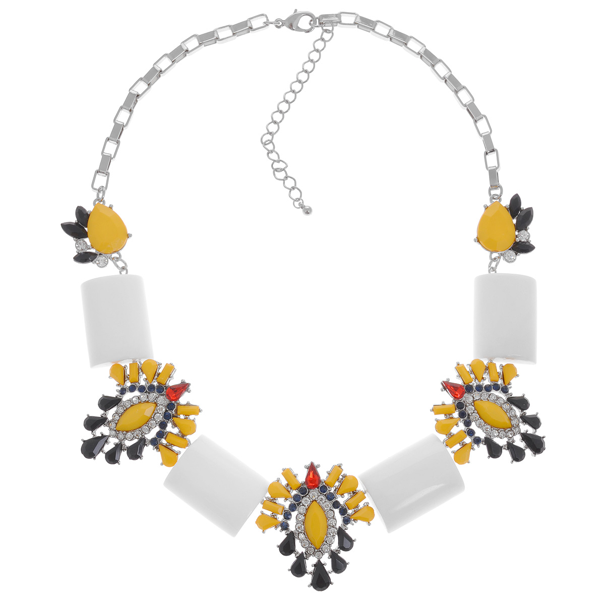 Колье Avgad, цвет: белый, желтый, черный. H-477S827Колье (короткие одноярусные бусы)Оригинальное колье Avgad выполнено в виде девяти оригинальных элементов из ювелирного сплава, соединенных между собой, и дополненных оригинальной цепочкой. Три центральных фигурных элемента колье оформлены в едином стиле и дополнены разноцветными камнями из стекла и акрила. Колье застегивается на практичный замок-карабин, длина изделия регулируется за счет дополнительных звеньев в цепочке.Такое колье позволит вам с легкостью воплотить самую смелую фантазию и создать собственный, неповторимый образ.