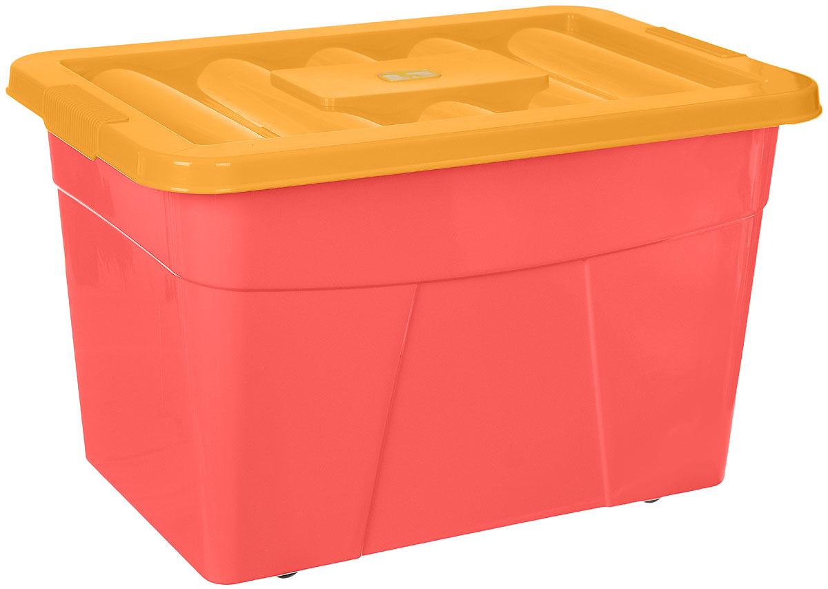 Пластишка Ящик для игрушек на колесиках цвет розовый оранжевый 60 х 40 х 36 см