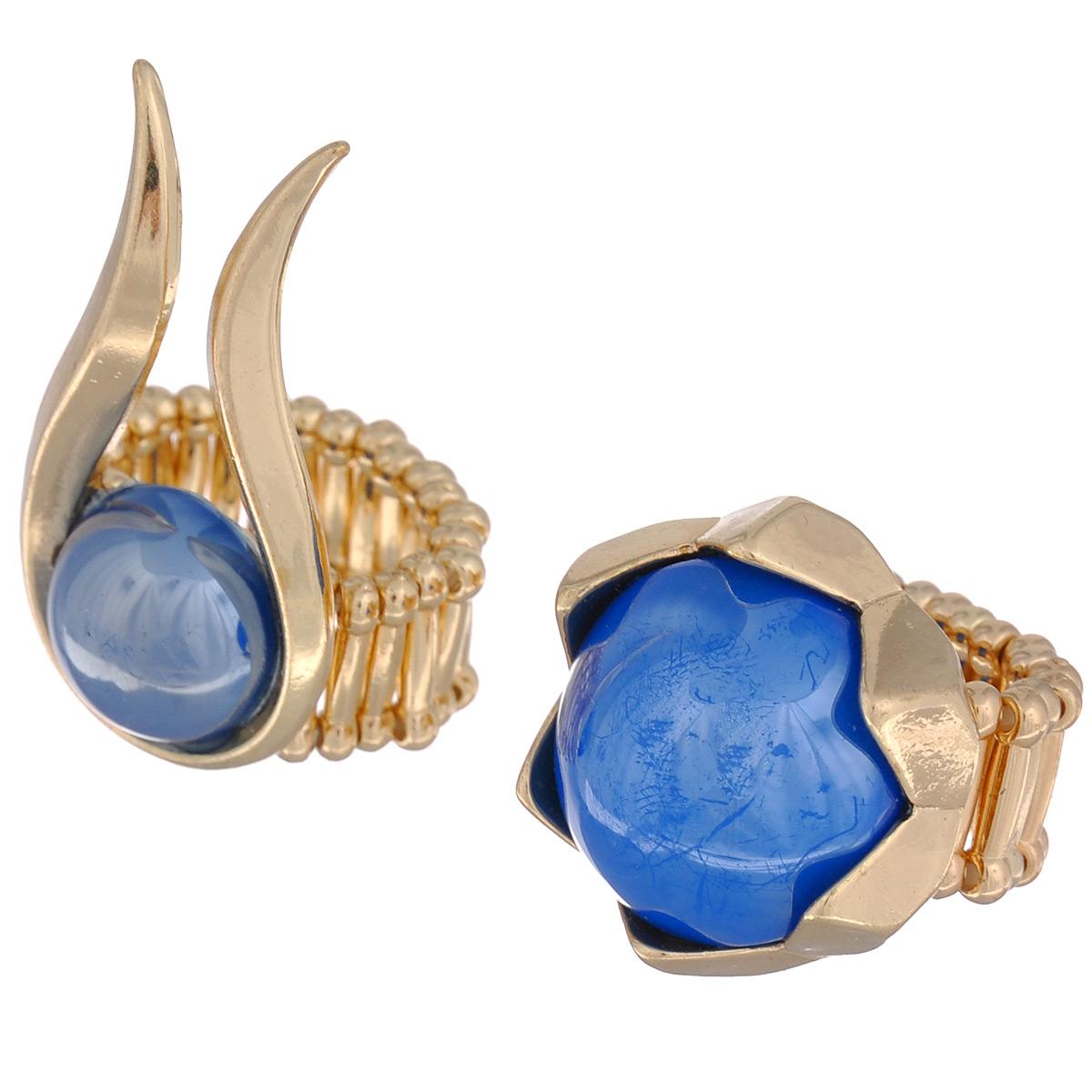 Кольцо Avgad, цвет: золотистый, синий. EA178JW126Коктейльное кольцоОригинальное кольцо Avgad выполнено из ювелирного сплава и декорировано дополнительным элементом из акрила. Элементы соединены с помощью тонкой резинки, благодаря этому оно легко одевается и снимается. Размер универсальный.Кольцо позволит вам с легкостью воплотить самую смелую фантазию и создать собственный, неповторимый образ.