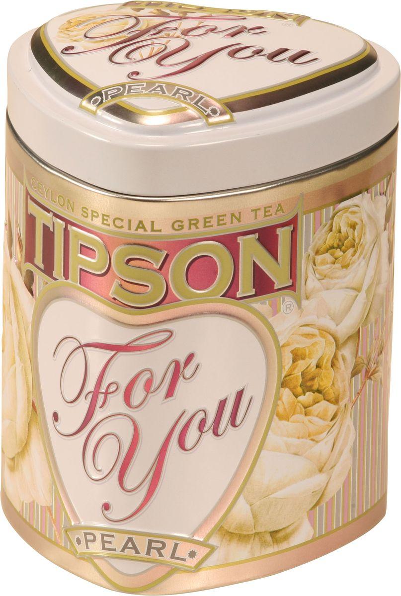 Tipson Pearl зеленый листовой чай, 75 г (жестяная банка)0120710Чай зелёный цейлонский байховый листовой Tipson Pearl с ароматами молока и розы.