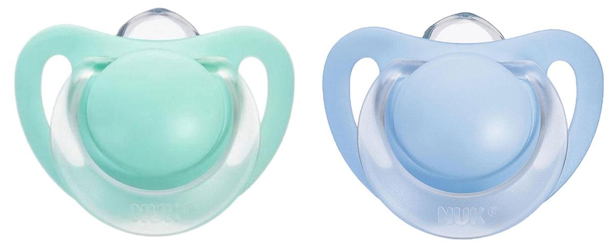 NUK Пустышка силиконовая Starlight, ортодонтическая, от 6 до 18 месяцев, 2 шт, цвет: сиреневый, зеленый nuk пустышка латексная для сна ежик ортодонтическая от 0 до 6 месяцев