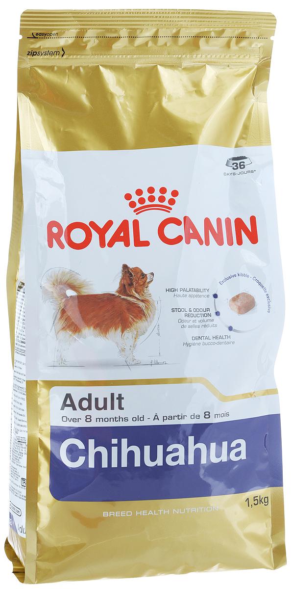 Корм сухой Royal Canin Chihuahua Adult, для собак породы чихуахуа в возрасте с 8 месяцев, 1,5 кг0120710Корм сухой Royal Canin Chihuahua Adult - полнорационное питание для собак породы чихуахуа в возрасте с 8 месяцев и на протяжении всей жизни. Высокая вкусовая привлекательность.Стимулирует аппетит даже у самых разборчивых чихуахуа благодаря отборным натуральным ароматизаторам и специально адаптированным размерам и форме крокетов.Нормализация стула.Корм для чихуахуа снижает объем и ослабляет неприятный запах экскрементов животного. Уменьшение риска возникновения зубного камня.Благодаря хелаторам кальция и специально подобранной текстуре крокетов, которая оказывает чистящее воздействие, данный продукт помогает ограничить образование зубного камня у чихуахуа. В магазинах партнеров Royal Canin вы сможете купитькорм, обогащенный всеми необходимыми элементами.Специально для миниатюрных челюстей.Крокеты идеально подходят для крошечных челюстей чихуахуа. Форма крокет - крайне важный фактор нормального развития челюстей собак миниатюрных и декоративных пород. Зачастую с крокетами слишком большого размера собака просто не справляется. Состав: рис, кукуруза, дегидратированное мясо птицы, изолят растительных белков, животные жиры, гидролизат белков животного происхождения, свекольный жом, растительная клетчатка, минеральные вещества, рыбий жир, соевое масло, фруктоолигосахариды, масло огуречника аптечного, экстракт бархатцев прямостоячих (источник лютеина), экстракты зеленого чая и винограда (источники полифенолов), гидролизат из панциря ракообразных (источник глюкозамина), гидролизат из хряща (источник хондроитина).Добавки (в 1 кг): йод — 5,5 мг, селен — 0,29 мг, медь — 15 мг, железо — 170 мг, марганец — 76 мг, цинк — 228 мг, витамин A — 32000 МЕ, витамин D3 — 800 МЕ, витамин E — 600 мг, витамин C — 300 мг, витамин B1 — 27,7 мг, витамин B2 — 49,8 мг, витамин B3 — 495 мг, витамин B5 — 148,8 мг, витамин B6 — 77,7 мг, витамин B12 — 0,14 мг.Товар сертифицирован.