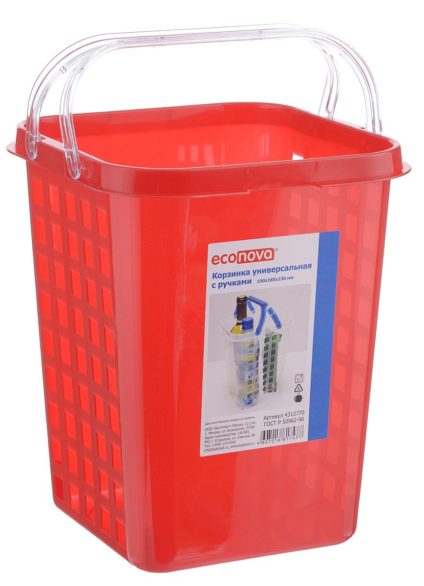 Корзинка универсальная Econova, с ручками, цвет: красный, 19 х 18,5 х 23 смПЦ2833_бежевыйУниверсальная корзинка Econova изготовлена из высококачественного пищевого пластика и предназначена для хранения и транспортировки различных вещей. Корзинка подойдет как для пищевых продуктов, так и для ванных принадлежностей и различных мелочей. Изделие оснащено двумя ручками для более удобной транспортировки. Стенки корзинки оформлены перфорацией, что обеспечивает естественную вентиляцию. Универсальная корзинка Econova позволит вам хранить вещи компактно и с удобством.