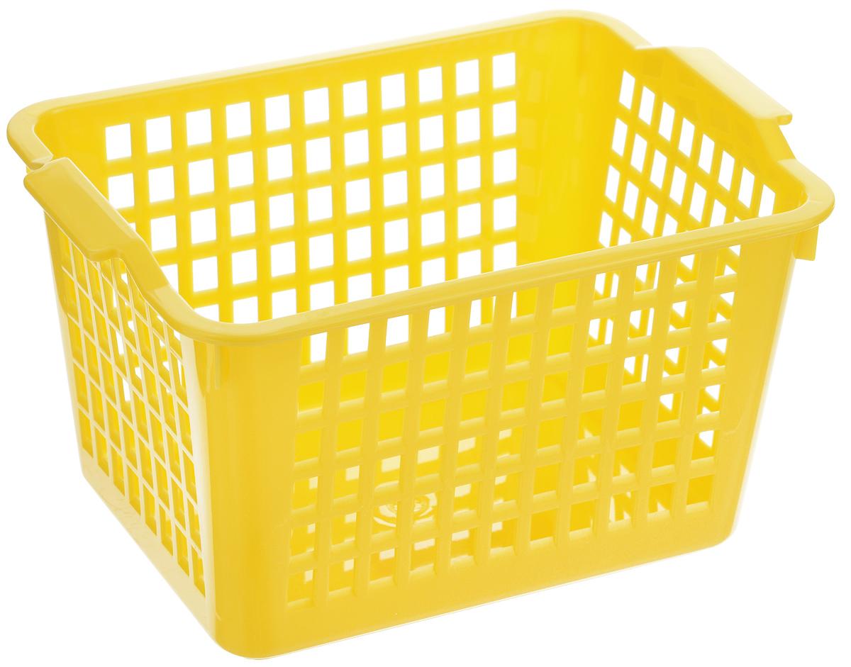 Корзинка универсальная Econova, цвет: желтый, 21 х 14,6 х 11,3 см12723Универсальная корзинка Econova изготовлена из высококачественного пластика с перфорированными стенками и сплошным дном. Такая корзинка непременно пригодится в быту, в ней можно хранить кухонные принадлежности, специи, аксессуары для ванной и другие бытовые предметы, диски и канцелярию.