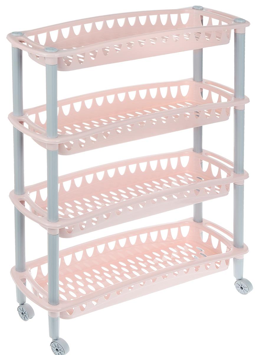 Этажерка Бытпласт Джулия, 4-х секционная, на колесиках, цвет: бледно-розовый, серый, 59 х 18 х 73 см1004900000360Этажерка Бытпласт Джулия выполнена из высококачественного прочного пластика и предназначена для хранения различных предметов. Изделие имеет 4 полки прямоугольной формы с перфорированными стенками. Благодаря колесикам этажерку можно перемещать в любую сторону без особых усилий. В ванной комнате вы можете использовать этажерку для хранения шампуней, гелей, жидкого мыла, стиральных порошков, полотенец и т.д. Ручной инструмент и детали в вашем гараже всегда будут под рукой. Удобно ставить банки с краской, бутылки с растворителем. В гостиной этажерка позволит удобно хранить под рукой книги, журналы, газеты. С помощью этажерки также легко навести порядок в детской, она позволит удобно и компактно хранить игрушки, письменные принадлежности и учебники. Этажерка - это идеальное решение для любого помещения. Она поможет поддерживать чистоту, компактно организовать пространство и хранить вещи в порядке, а стильный дизайн сделает этажерку ярким украшением интерьера.Размер этажерки (ДхШхВ): 59 см х 18 см х 73 см. Размер полки (ДхШхВ): 59 см х 18 см х 6,5 см.