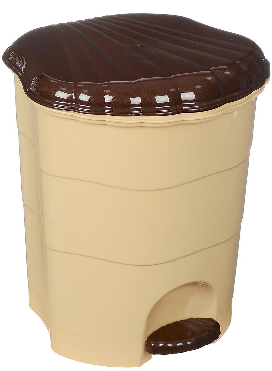 Контейнер для мусора Violet, с педалью, цвет: бежевый, коричневый, 11 л13155Мусорный контейнер Violet выполнен из прочного пластика, не боится ударов и долгих лет использования. Изделие оснащено педалью, с помощью которой можно открыть крышку. Закрывается крышка практически бесшумно, плотно прилегает, предотвращая распространение запаха. Внутри пластиковая емкость для мусора, которую при необходимости можно достать из контейнера. Интересный дизайн разнообразит интерьер вашего дома и сделает его более оригинальным.