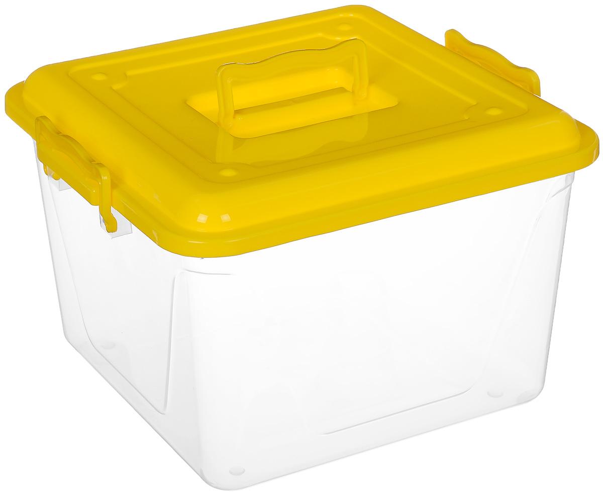 Контейнер Альтернатива, цвет: желтый, прозрачный, 15 л12723Контейнер Альтернатива выполнен из прочного цветного пластика ипредназначен для хранения различных бытовых вещей и продуктов.Контейнер оснащен по бокам ручками, которые плотно закрывают крышку контейнера. Также на крышке имеется ручка для удобной переноски. Контейнер поможет хранить все в одном месте и защитить вещи от пыли, грязи и влаги.