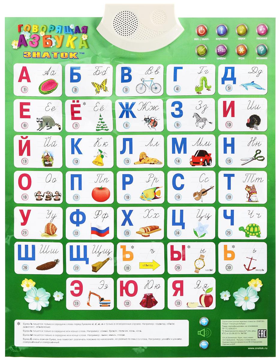 """Электронный озвученный плакат """"Говорящая азбука"""" предназначен для тех детей, которые еще не знакомы с алфавитом. Обучение происходит на русском языке в непринужденной манере и в игровой форме. Авторы плаката использовали стихотворную, музыкальную форму обучения, что способствует лучшему запоминанию букв ребенком. Плакат создан в соответствии с пожеланиями родителей и педагогов и рассчитан на детей, которые только начинают изучать алфавит. Электронный звуковой плакат очень красочный. На нем изображены буквы с картинками и кнопочки с порядковым номером каждой буквы. Кнопка """"Игра"""" помогает ребенку отвлечься, а заодно и узнать что-то новое. Кнопка """"Изучение"""" включает перечисление всех букв алфавита. Самостоятельно найти любую букву предложит кнопка """"Экзамен"""". Дополнительно имеется кнопка """"Стихи"""" и кнопка """"Песенка"""", нажимая на которые, ребенок сможет выучить несколько маленьких стихов или послушать веселую песню про алфавит. Громкость звуков..."""