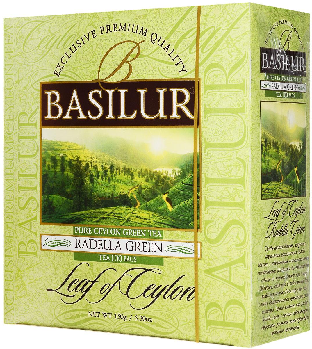 Basilur Radella зеленый чай в пакетиках, 100 шт4607099301122Зелёный цейлонский байховый мелколистовой чай Basilur Radella в пакетиках с ярлычками для разовой заварки - отличный вариант на каждый день!Среди горных вершин, покрытых туманами расположена Radella. Место с идеальными климатическими и почвенными условиями для выращивания одного из лучших сортов чая в мире.Целебные свойства и освежающий вкус цейлонского чая удовлетворят даже самых взыскательных ценителей этого напитка. Чашка зеленого чая Basilur Radella Green с легким освежающим эффектом успокоит ваши чувства и поднимет настроение.