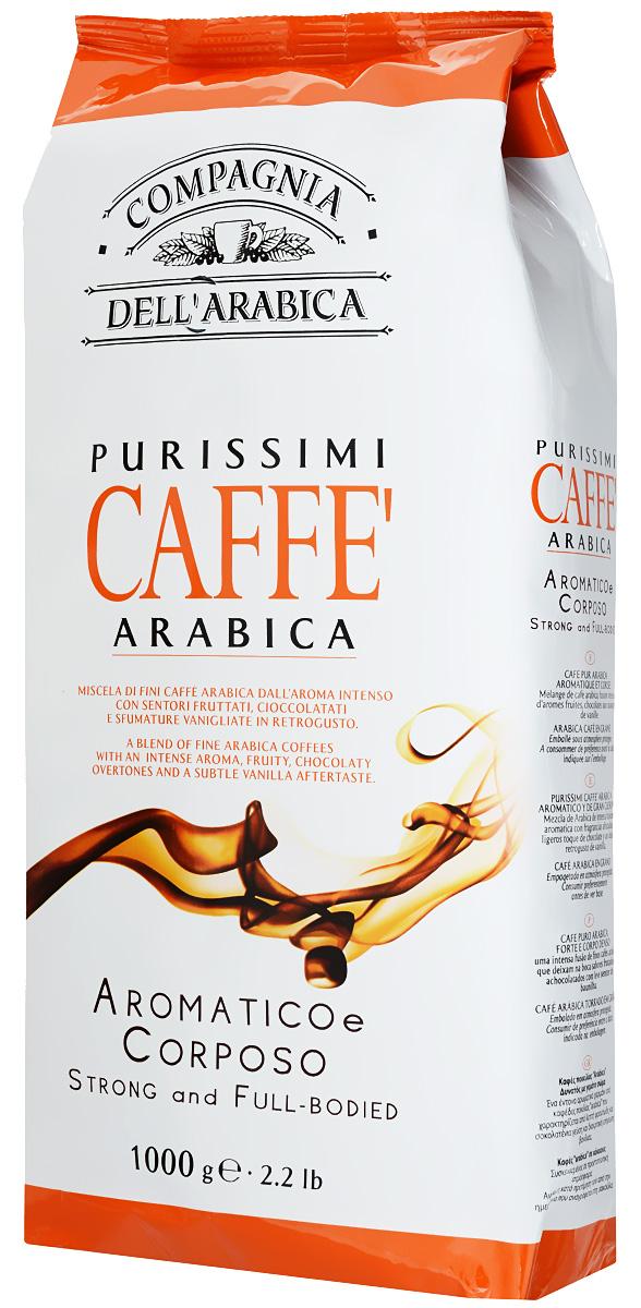 Compagnia DellArabica Purissimi Arabica кофе в зернах, 1000 г0120710Compagnia DellArabica Purissimi Arabica - очень ароматная композиция сортов 100% Арабики. Сорт создан из зерен Арабики на лучших мировых плантациях. Напиток имеет отменный мягкий вкус и великолепный насыщенный аромат. Идеально подходит для приготовления эспрессо и напитков на его основе, любыми традиционными способами!
