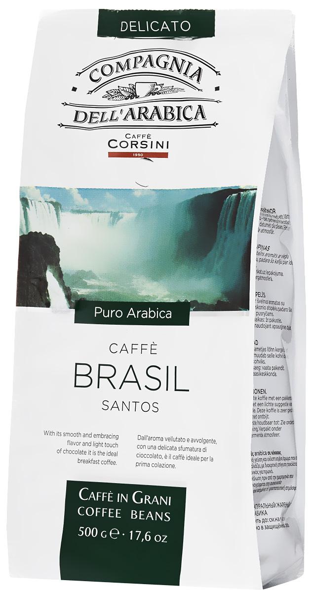 Compagnia DellArabica Brasil Santos кофе в зернах, 500 г8001684011094Compagnia DellArabica Brasil Santos - один из самых популярных сортов 100% арабики в мире. Теплота молочного шоколада, оживленная цитрусовыми акцентами тонко сочетается с линией свежести южно-американских цветущих садов. Для этого напитка характерна низкая кислотность и идеальная структура. Идеально подходит для приготовления эспрессо и напитков на его основе, любыми традиционными способами.