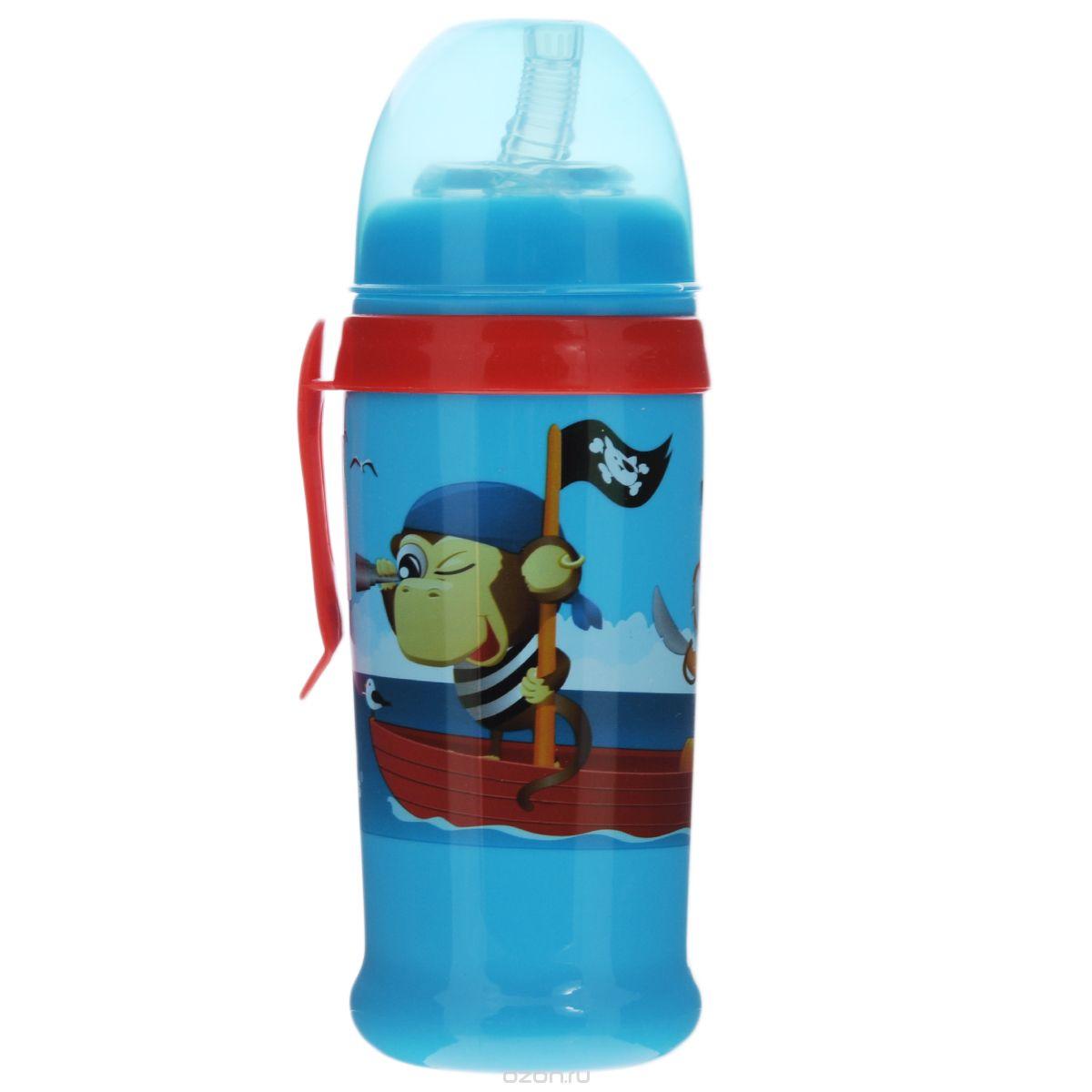 Canpol Babies Поильник-непроливайка с силиконовым носиком-трубочкой от 12 месяцев цвет голубой 350 мл