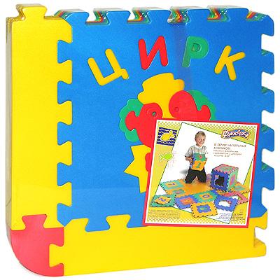 """Коврик-пазл Флексика """"Цирк"""" обязательно понравится каждому ребенку. Он состоит из шести квадратов, способных соединяться между собой как паззл. Квадраты в свою очередь тоже состоят из нескольких деталей. Из деталей коврика можно складывать и плоские, и объемные конструкции (кубы, башни и т.д.) Помимо игрового и обучающего эта игрушка имеет и практическое значение. Детали коврика выполнены из экологически чистого мягкого полимерного материала, обладающего теплоизоляционными свойствами. Это обеспечивает комфорт и удобство в использовании в виде напольного покрытия в детской и ванной комнате или даже на пляже. Мозаика настолько универсальна и практична, что с ней можно играть практически везде. Преимущество предлагаемой мозаики перед другими игрушками заключается в том, что она обучает ребенка, способствует развитию у него мелкой моторики, образного и логического мышления, наблюдательности."""