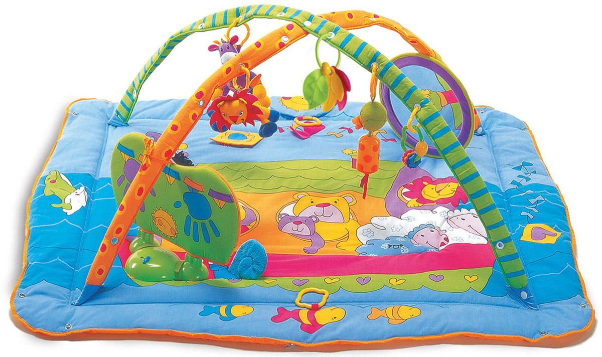 """Существуют 3 варианта использования коврика: коврик с дугами и мягкими бортами (для самых маленьких), коврик с дугами без бортов (для подросших малышей), просто игровой коврик. Красочный развивающий коврик """"Зоосад"""" со съемными дугами станет первой площадкой для игры Вашего малыша. Обилие ярких цветов, различных форм, использование материалов разной фактуры, 3 симпатичные игрушки в виде жирафа-погремушки, утенка с колокольчиком, львенка-погремушки, погремушка с бусинами, прорезыватель для зубов, безопасное зеркальце, а также большие возможности для игры (звук погремушки, звук при сдавливании - пищалки - и шуршащая бумага) будут помогать ребенку развиваться, проводя часы в веселых и забавных играх. Съемные игрушки крепятся к дуге при помощи колец. Музыкальный центр с музыкой Моцарта. Рычажок на 3 положения. """"Play""""- загораются огоньки, и идет веселый проигрыш со звуками животных под музыку, """"off"""" - выключить, """"mozart"""" -..."""