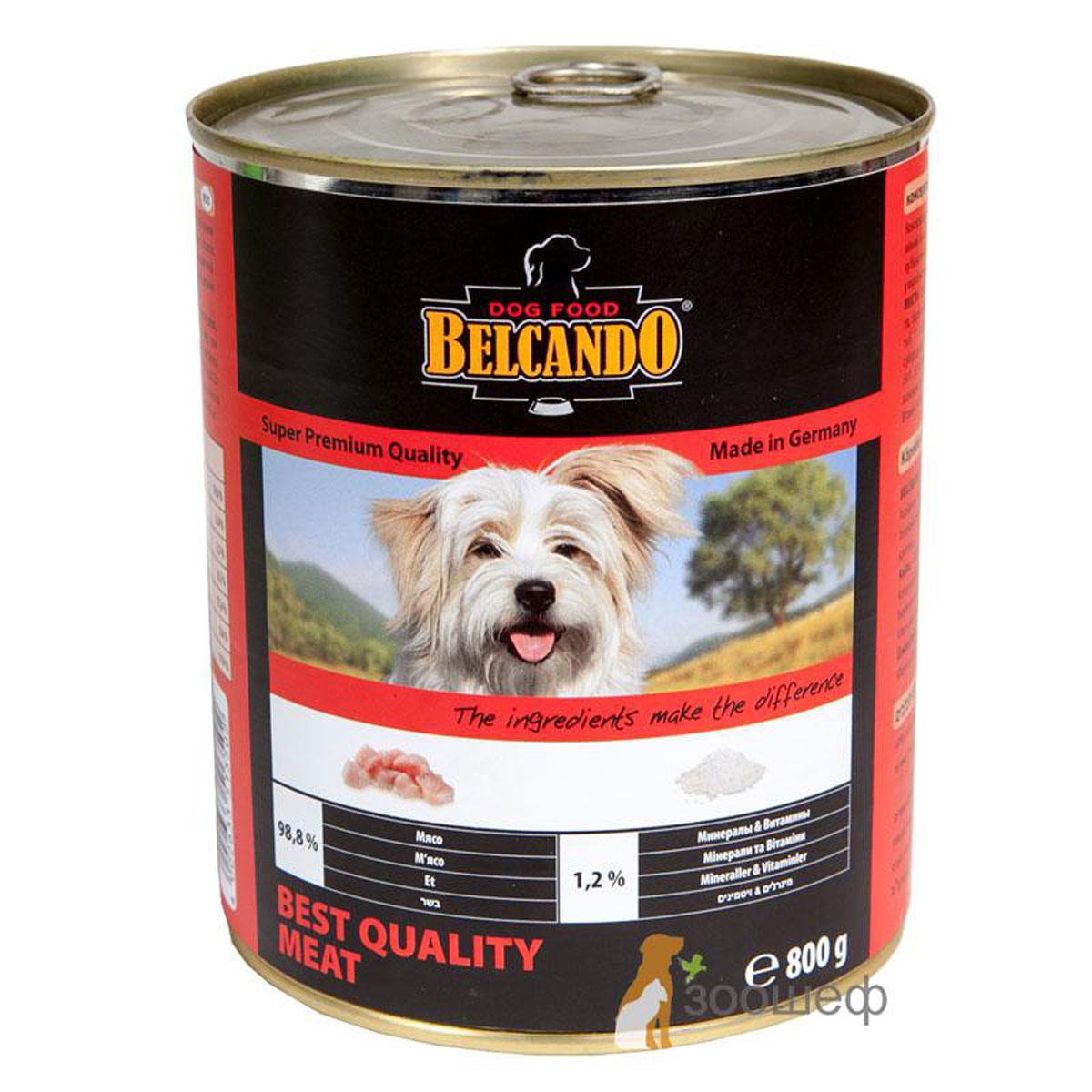 Консервы для собак Belcando, с отборным мясом, 800 г53724Консервы Belcando - это полнорационное влажное питание для собак. Подходят для собак всех возрастов. Комбинируется с любым типом корма, в том числе с натуральной пищей. Состав: мясо 98,8%, витамины и минералы 1,2%. Анализ состава: протеин 14 %, жир 5 %, клетчатка 0,2 %, зола 2,5 %, влажность 75,4 %, витамин А 2,500 МЕ/кг, витамин Е 40 мг/кг, витамин D3 250 МЕ/кг, кальций 0,4 %, фосфор 0,16 %.Вес: 800 г.Товар сертифицирован.