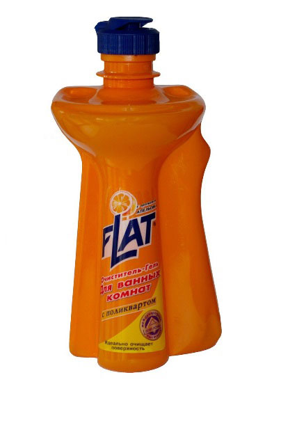 Очиститель-гель для ванных комнат Flat, с ароматом апельсина, 350 г4600296000287Очиститель-гель для ванных комнат Flat - мощное чистящее средство с натуральными маслами для устранения известкового налета, мыльных осадков и других загрязнений ванн, раковин, унитазов. Не повреждает очищаемую поверхность. Введенный в состав поликварт образует невидимую пленку, защищающую от загрязнений и позволяющую быстро высушивать поверхность. Вязкая консистенция позволяет использовать очиститель на неровных и труднодоступных поверхностях и расходовать экономно. Регулярное применение средства обеспечит длительный эффект чистоты. Характеристики:Вес: 350 г. Производитель: Россия.