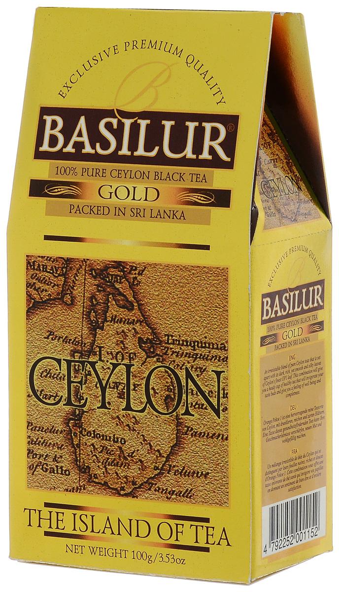 Basilur Gold черный листовой чай, 100 г0120710Basilur Gold - черный байховый листовой чай. Orange Pekoe 1 - высокий стандарт листового цейлонского чая, который сочетает в себе полноту вкуса с тонкими оттенками аромата, а благородный золотистый цвет его настоя делает чай поистине драгоценным.