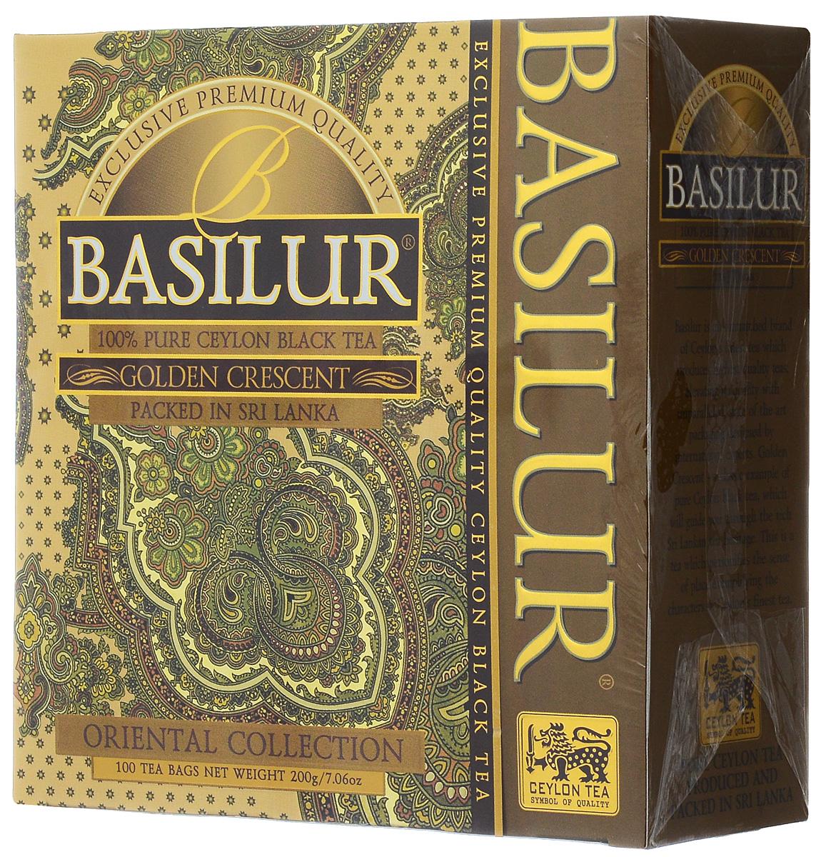 Basilur Golden Crescent черный чай в пакетиках, 100 шт майский черный бриллиант черный чай в пакетиках 100 шт