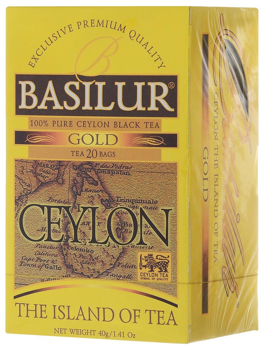 Basilur Gold черный чай в пакетиках, 20 шт0120710Basilur Gold OP1 - черный байховый мелколистовой чай в пакетиках с ярлычками для разовой заварки. Orange Pekoe 1 - это высокий стандарт листового цейлонского чая, который сочетает в себе полноту вкуса с тонкими оттенками аромата. А благородный золотистый цвет его настоя делает напиток поистине драгоценным.