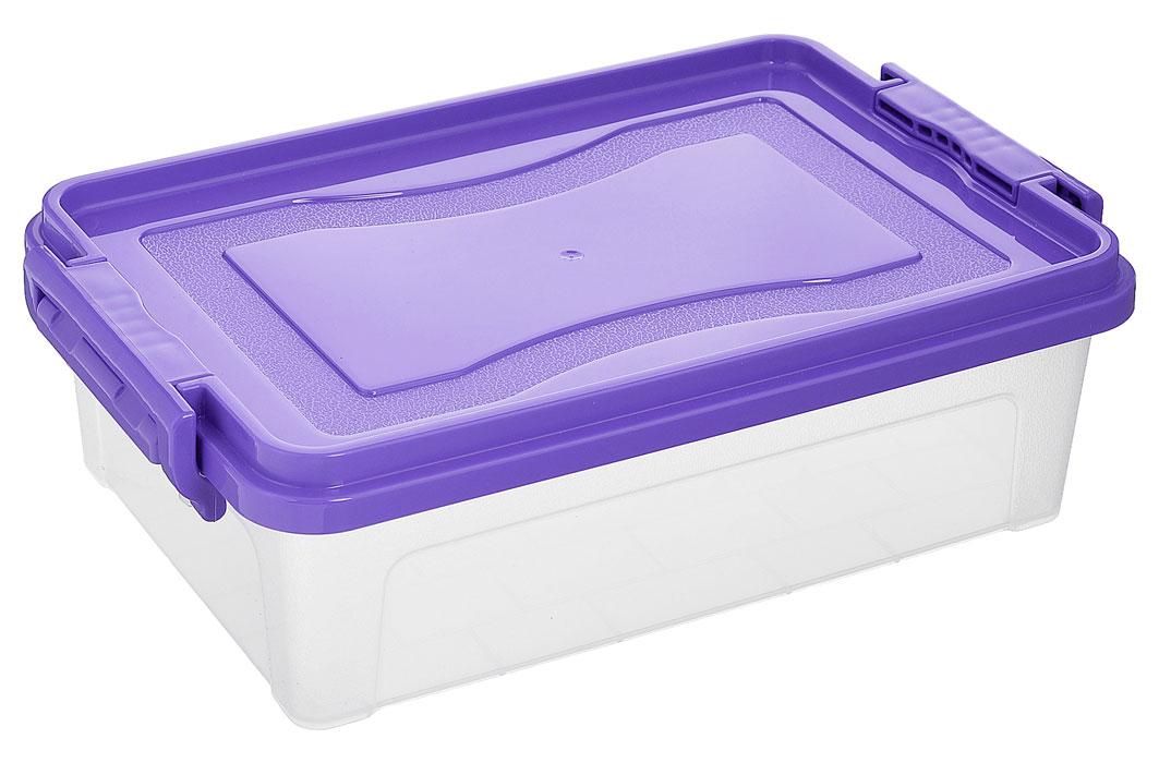 Контейнер для хранения Idea, прямоугольный, цвет: прозрачный, фиолетовый, 3,6 л1004900000360Контейнер для хранения Idea выполнен из высококачественного пластика. Контейнер снабжен двумя пластиковыми фиксаторами по бокам, придающими дополнительную надежность закрывания крышки. Вместительный контейнер позволит сохранить различные нужные вещи в порядке, а герметичная крышка предотвратит случайное открывание, защитит содержимое от пыли и грязи.