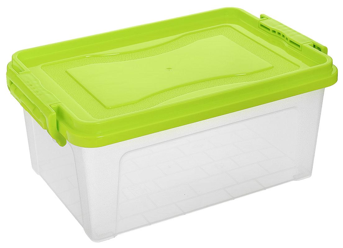 Контейнер для хранения Idea, цвет: прозрачный, салатовый, 5,3 л09045Контейнер для хранения Idea выполнен из высококачественного пластика. Контейнер снабжен двумя пластиковыми фиксаторами по бокам, придающими дополнительную надежность закрывания крышки. Вместительный контейнер позволит сохранить различные нужные вещи в порядке, а герметичная крышка предотвратит случайное открывание, защитит содержимое от пыли и грязи.