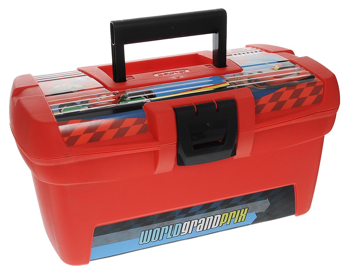 Ящик для хранения Disney Тачки, цвет: красный, 33 x 20 x 161004900000360Декоративный ящик для хранения Disney Тачки выполнен из цветного пластика в виде сундучка и декорирован изображением персонажей из мультика Тачки. Изделие предназначено для хранения игрушек, детских инструментов и много другого. Внутри ящик имеет одно полое отделение и небольшое съемное отделение для хранения мелких вещей. Крышка легко открывается и плотно закрывается на защелку.Яркий и оригинальный ящик с забавными персонажами непременно привлечет внимание ребенка и станет незаменимым для хранения игрушек, книжек и других детских принадлежностей. Он отлично впишется в детскую комнату и поможет приучить ребенка к порядку.