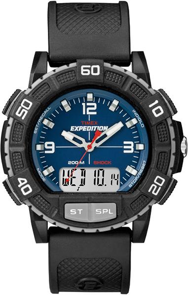 Часы наручные мужские Timex, цвет: черный, серый, синий. T49968BM8434-58AEВодозащита 20 АТМ; Механизм кварцевый; Корпус пластиковый; Браслет каучуковый; Стекло акриловое; Размер корпуса 50 мм; ударопрочность, подсветка INDIGLO