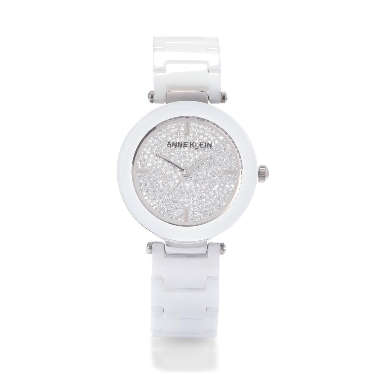 Часы наручные женские Anne Klein Ceramics, цвет: белый, стальной. 1019PVWTBM8434-58AEЭлегантные женские часы Anne Klein Ceramics изготовлены из нержавеющей стали, керамики и минерального стекла. Циферблат часов оформлен символикой бренда и блестками.Корпус изделия оснащен кварцевым механизмом, который имеет степень влагозащиты равную 3 Bar, дополнен устойчивым к царапинам минеральным стеклом. Браслет оснащен складным замком с дополнительным звеном, который позволит с легкостью снимать и надевать изделие.Часы поставляются в фирменной упаковке.Часы Anne Klein Ceramics подчеркнут изящность женской руки и отменное чувство стиля у их обладательницы.