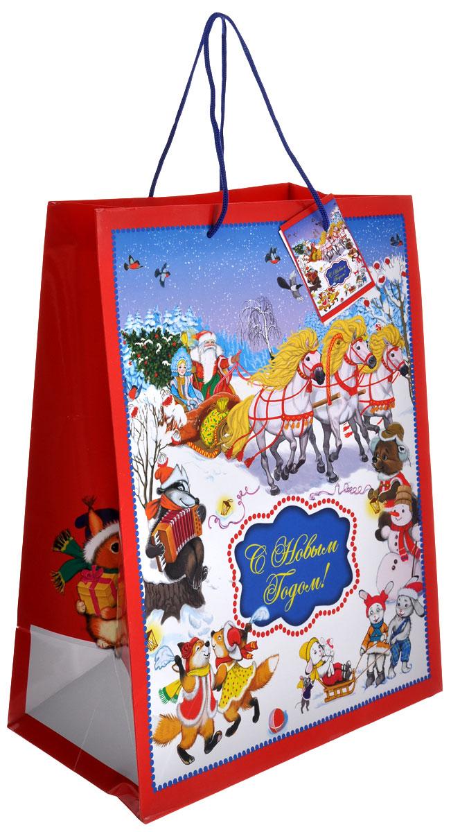 Пакет подарочный Феникс-презент Новогодний праздник, 26 см х 32,4 см55052Подарочный пакет Феникс-презент Новогодний праздник, изготовленный из плотной бумаги, станет незаменимым дополнением к выбранному подарку. Дно изделия укреплено картоном, который позволяет сохранить форму пакета и исключает возможность деформации дна под тяжестью подарка. Пакет выполнен с глянцевой ламинацией, что придает ему прочность, а изображению - яркость и насыщенность цветов. Для удобной переноски на пакете имеются две ручки из шнурков.Подарок, преподнесенный в оригинальной упаковке, всегда будет самым эффектным и запоминающимся. Окружите близких людей вниманием и заботой, вручив презент в нарядном, праздничном оформлении.Размер: 26 см х 32,4 см х 12,7 см.
