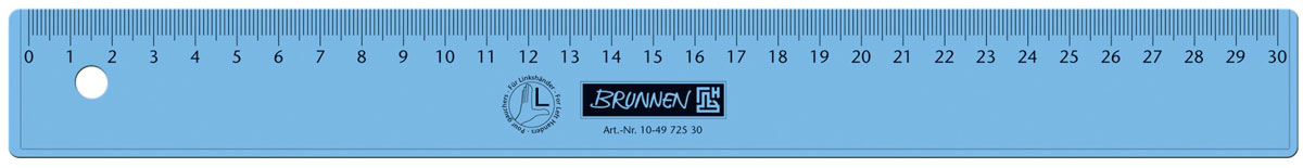 Brunnen Линейка для левши, цвет: синий, 30 см72523WDЛинейка Brunnen, длиной 30 см, выполнена из прозрачного пластика синего цвета. Линейка предназначена специально для левшей. Шкала на линейке расположена справа налево. Линейка Brunnen - это незаменимый атрибут, необходимый школьнику или студенту, упрощающий измерение и обеспечивающий ровность проводимых линий.