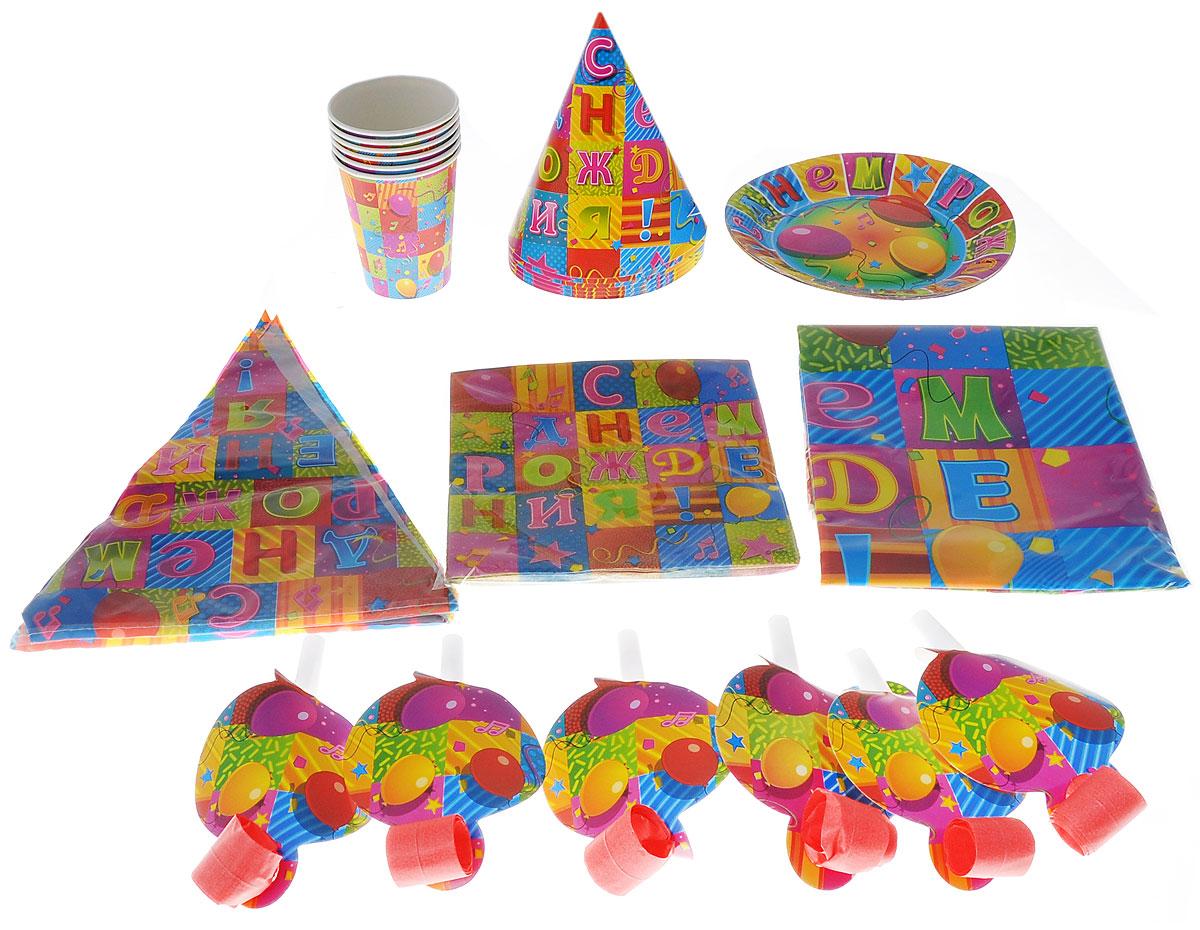 Веселая затея Набор карнавальных аксессуаров  С Днем Рождения. Мозаика , 38 предметов - Сервировка праздничного стола
